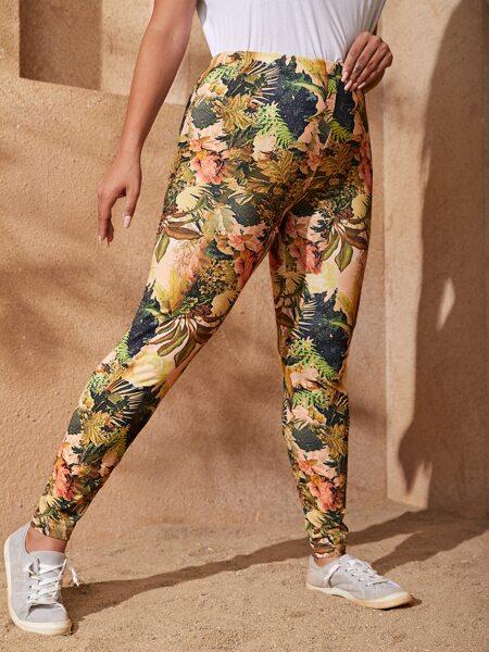 Plus Tropical Print Leggings