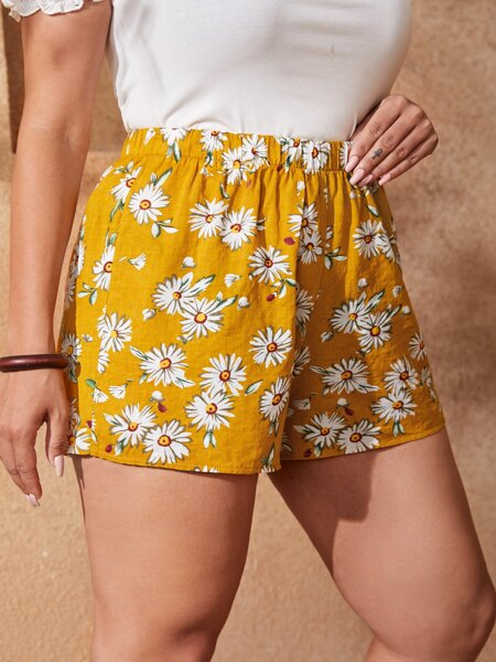 Plus Allover Floral Elastic Waist Shorts