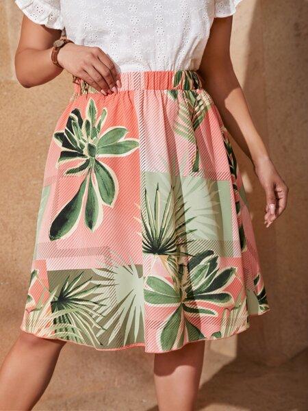 Plus Plants Print High Waisted Skirt
