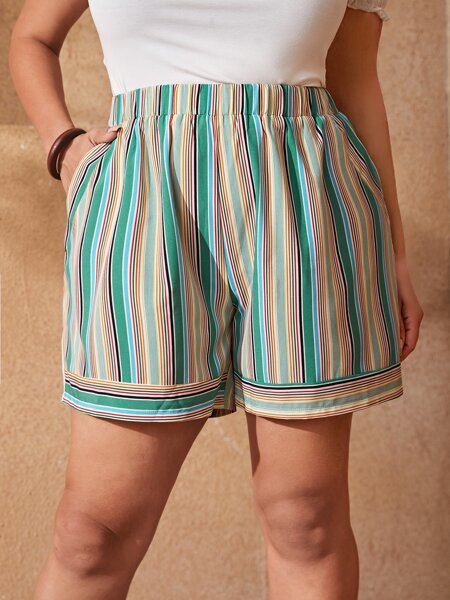 Plus Striped Slant Pocket Shorts