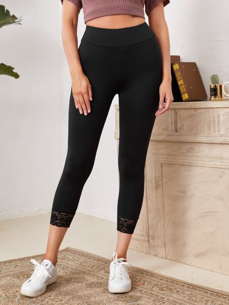 Lace Detail Wide Waistband Leggings