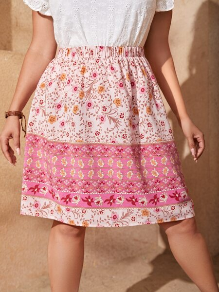 Plus Colorblock Floral Print Skirt
