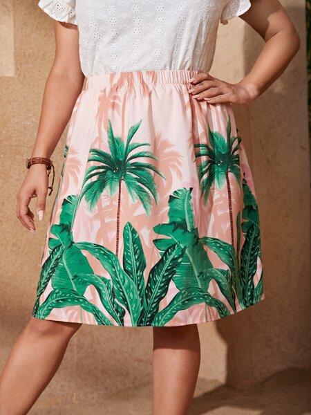 Plus Tropical Print Elastic Waist Skirt