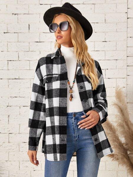 Drop Shoulder Buffalo Plaid Coat