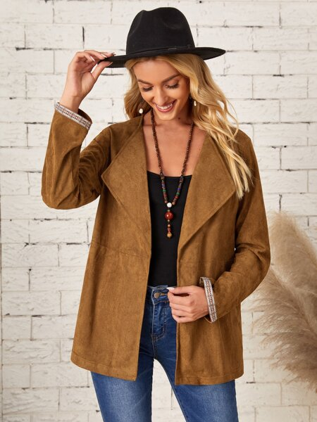 Tape Cuff Open Front Suede Coat