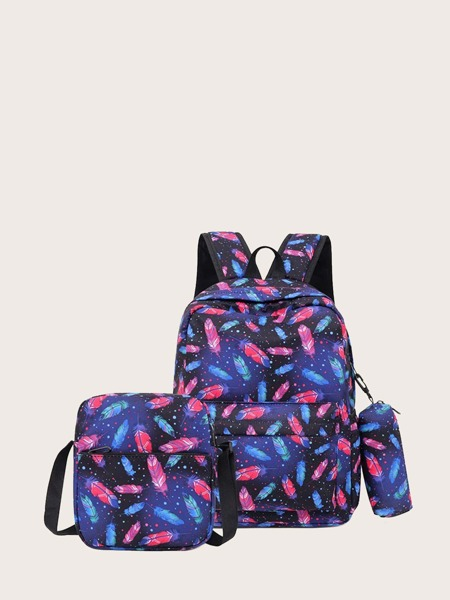 3pcs Feather Graphic Backpack Set
