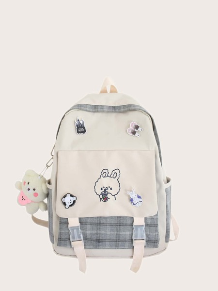 Cartoon Charm Pocket Front Backpack