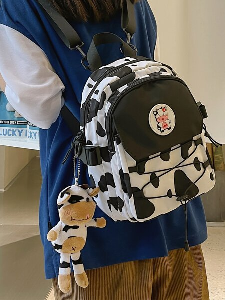 Cow Pattern Backpack With Charm