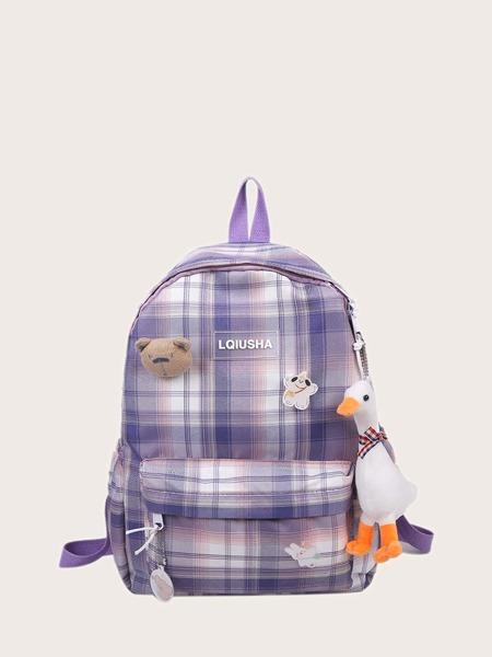 Cartoon Decor Plaid Backpack With Bag Charm
