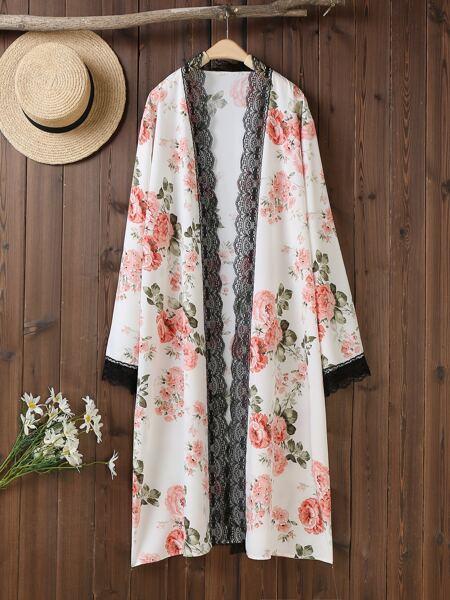 Plus Floral Contrast Lace Kimono