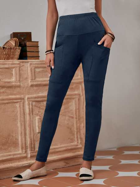 Solid Elastic Waist Leggings With Phone Pocket