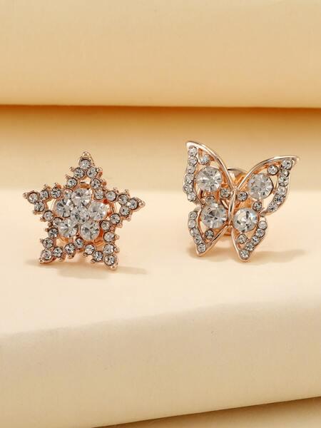 2pcs Rhinestone Star & Butterfly Brooch