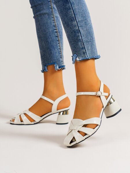 Minimalist Hollow Out Ankle Strap Chunky Pumps