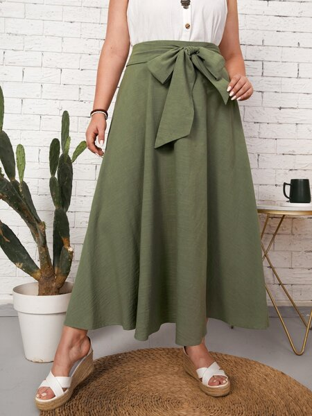 Plus Self Belted Flared Skirt