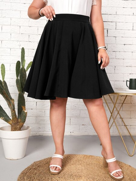 Plus High Waist Flare Hem Skirt