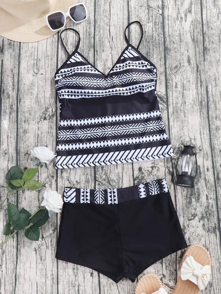 Allover Print Shorts Bikini Swimsuit
