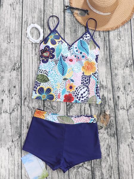 Flower & Leaf Print Shorts Bikini Swimsuit
