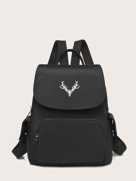 Metal Deer Decor Flap Backpack