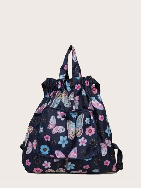 Allover Butterfly Graphic Drawstring Backpack