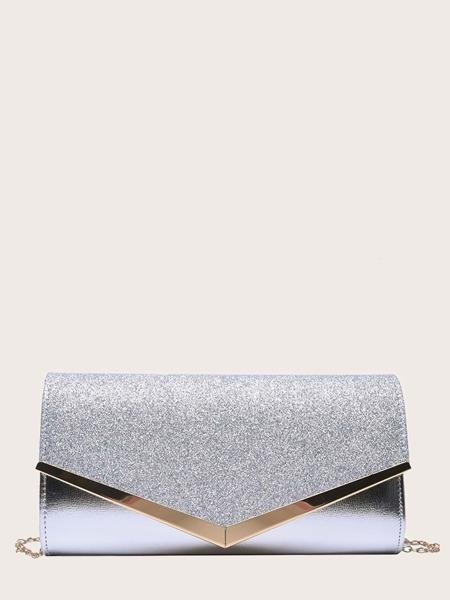 Metallic Glitter Decor Clutch Bag