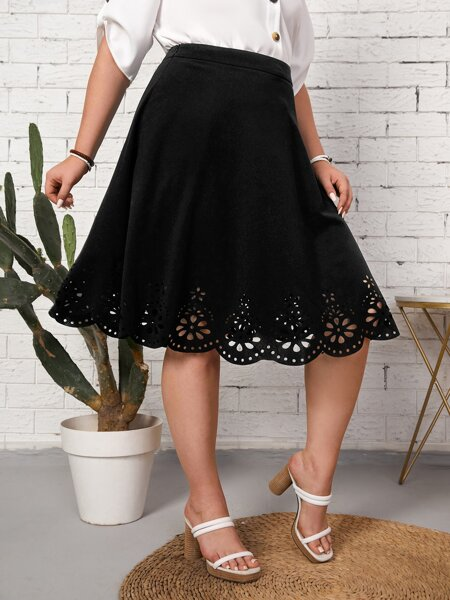 Plus Scallop Trim Laser Cut Skirt