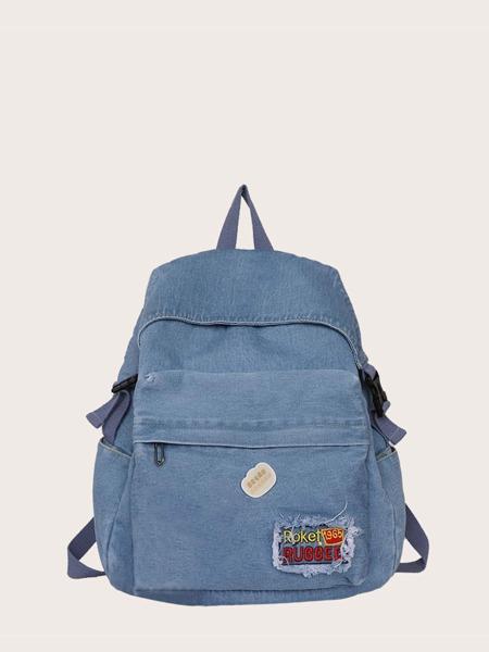 Letter Patch Denim Backpack
