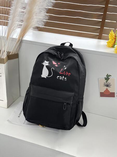 Cartoon & Letter Graphic Wear-resistant Backpack