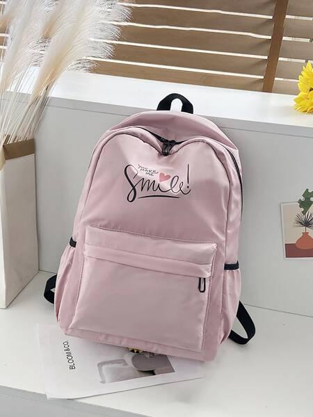 Slogan Graphic School Bag