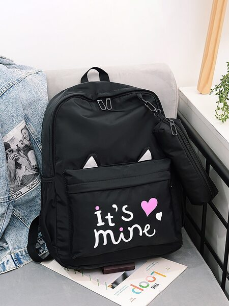 Letter & Heart Graphic Backpack With Pencil Case