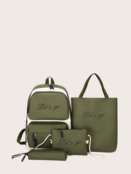 4pcs Letter Graphic Two Tone Backpack Set