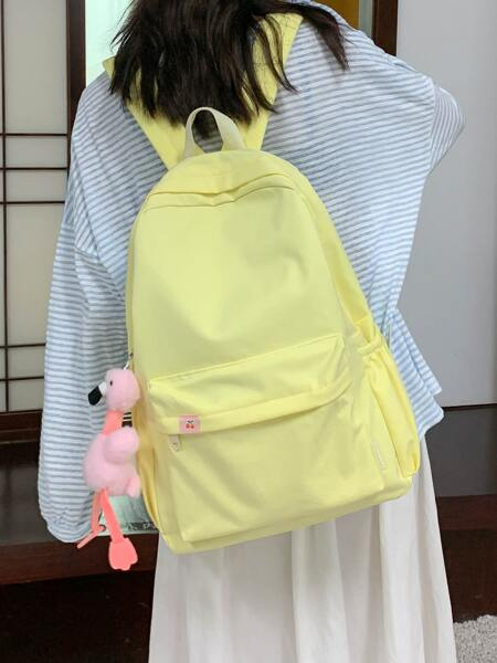 Minimalist Large Capacity Backpack With Bag Charm