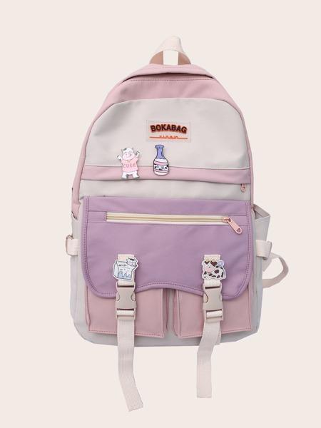 Colorblock Large Capacity School Bag