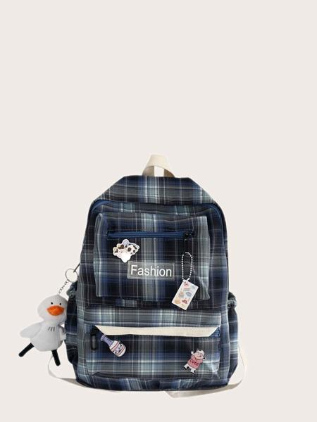 Tartan Large Capacity Backpack