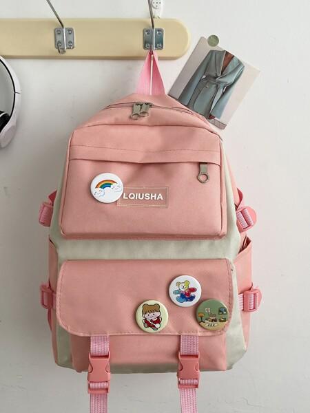 Two Tone Badge Decor Large Capacity Backpack