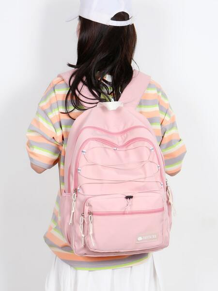 Drawstring Decor Large Capacity Backpack