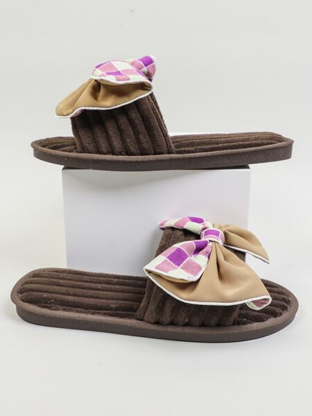 Bow Decor Plaid Fluffy Slippers