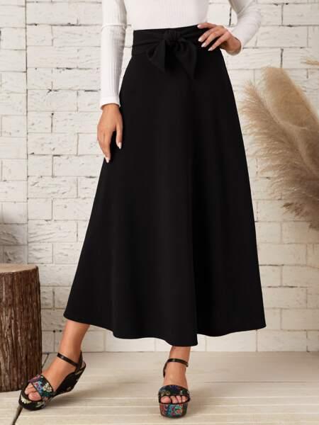 High Waist Tie Front Skirt