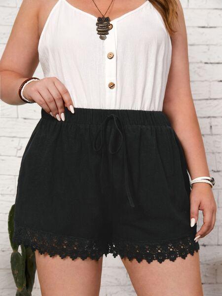 Plus Lace Trim Knot Front Shorts