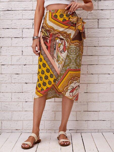 Scarf Print Tie Side Wrap Skirt