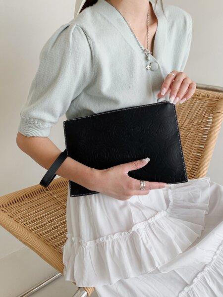 Minimalist Floral Embossed Clutch Bag