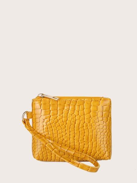 Minimalist Croc Embossed Clutch Bag
