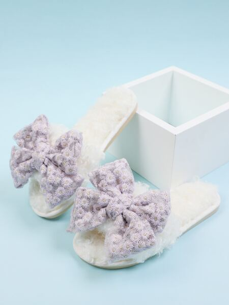 Bow Decor Floral Fluffy Bedroom Slippers