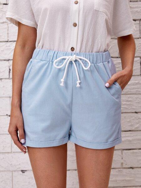 Slant Pocket Drawstring Shorts
