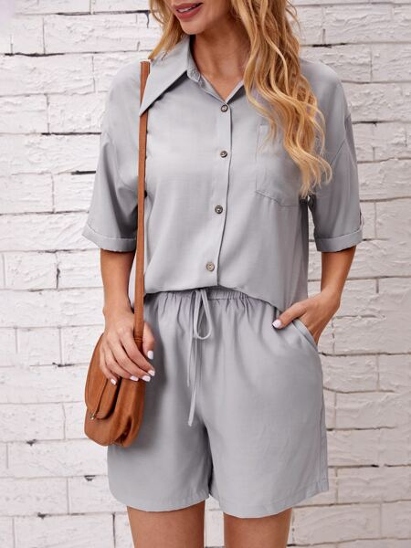 Solid Drop Shoulder Blouse With Shorts