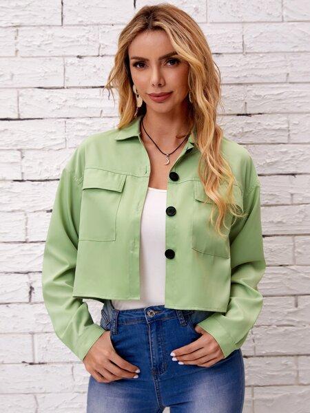 Flap Pocket Button Front Crop Jacket