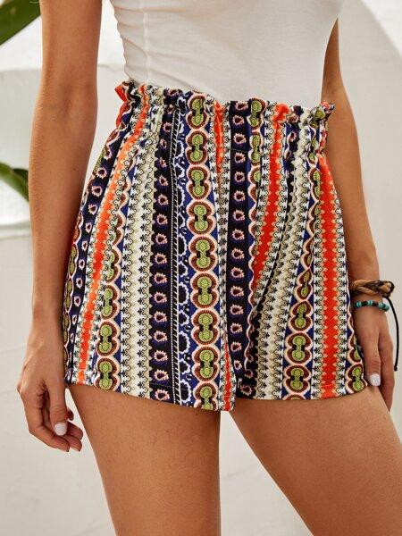 Allover Print Paper Bag Waist Shorts
