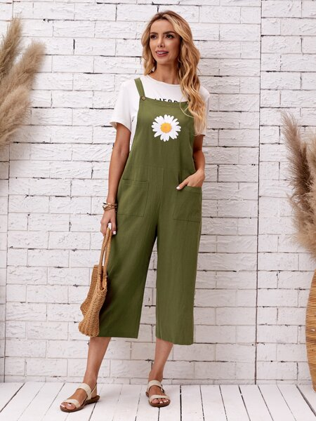 Floral Print Dual Pocket Overall Jumpsuit