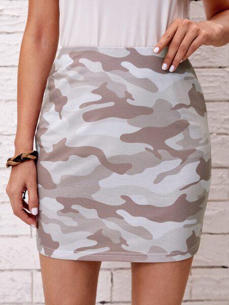 Camo Print Zipper Back Skirt