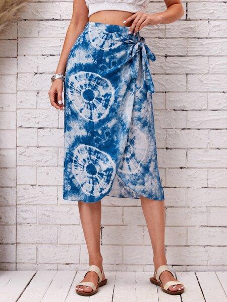 Tie Dye Knot Side Wrap Skirt