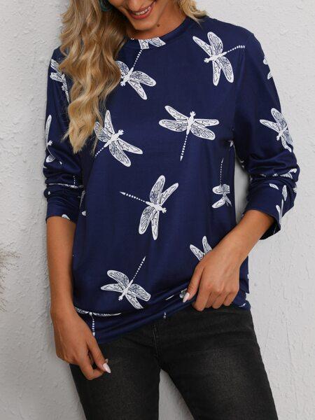 Dragonfly Print Crew Neck Sweatshirt